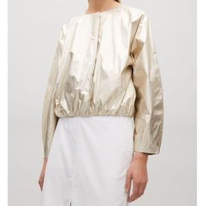 Cos Gold Metallic Cotton Collarless Crop Jacket